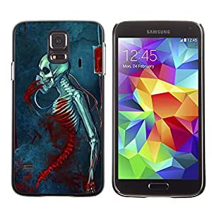 Be-Star Unique Pattern Hard Protective Back Case Cover Shell Skin For SAMSUNG Galaxy S5 V / i9600 / SM-G900F / SM-G900M / SM-G900A / SM-G900T / SM-G900W8 ( Blood Metal Music Death Skeleton )
