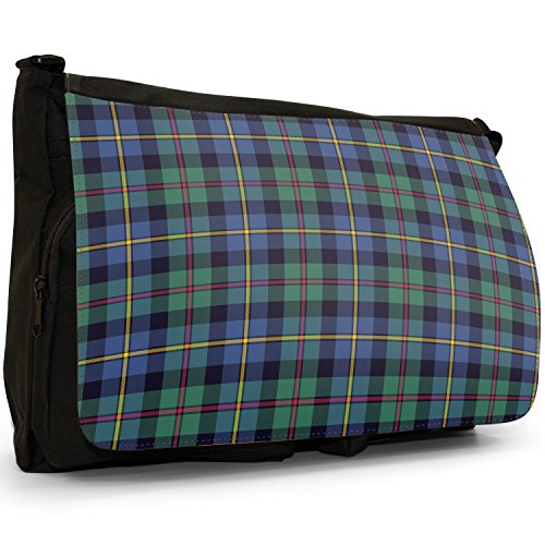 Shoulder Checked Tartan Messenger Laptop Bag Green amp; Tartan Black Canvas Blue Bag Colourful School Large Designs 0UqC51w1