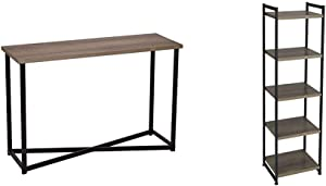 Household Essentials Ashwood Sofa Table | Console Table for Entryway | Gray-Brown & 5 Tier Storage Tower Metal, Grey Shelf – Black Frame, Ashwood