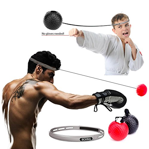 QBINGO Boxing Reflex Ball with Headband/Improve Hand Eye Coordination/train with shadow boxing/Reaction Ball on String Punching speed ball/Boxing Set with Adjustable Head Band & String/gag gift