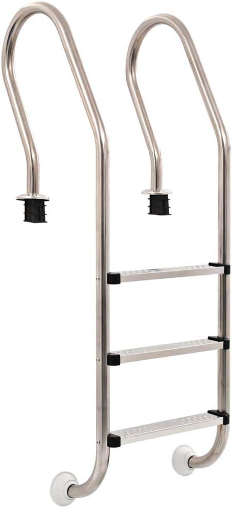 Tidyard Escalera de Piscina 49 x 53,3 x 158 cm 3 Peldaños de Acero Inoxidable y Patas de Goma 120 Cm con 3 Peldaños con Superficie Antideslizante: Amazon.es: Hogar