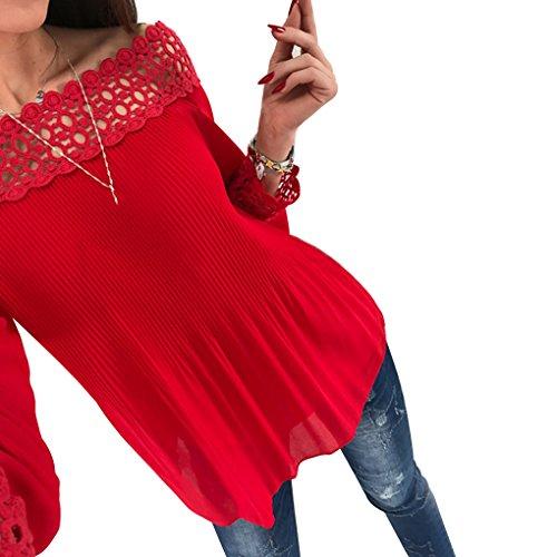 Summer Manches rouge l'paule de en Beach Blouses desserres Longues Casual Hauts Les Dentelle Femmes Masterein f0xzaUq0