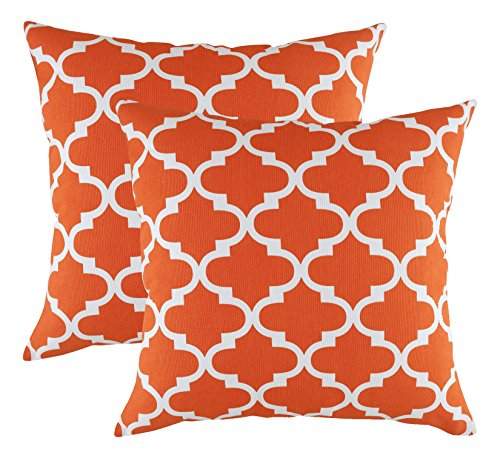 TreeWool Decorative Square Throw Pillow Covers Set Trellis Accent 100% Cotton Cushion Cases Pillowcases (20 x 20 Inches / 50 x 50 cm; California Orange & White) - Pack of 2