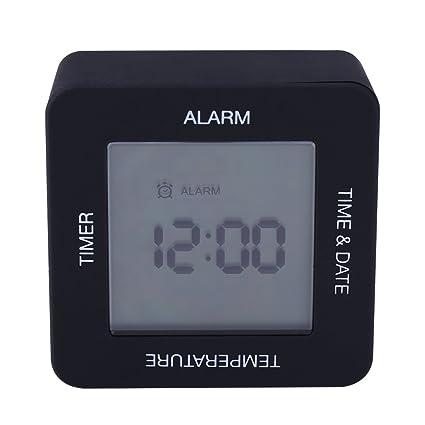 Fdit - Reloj Despertador Digital Multifuncional con Pantalla LCD y Sensor de Rotación, con Temporizador