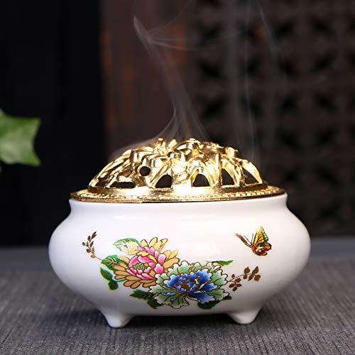 (Incense Burner with Brass Incense Stick Holder White Ceramic with Peony Pattern Handmade Censer)