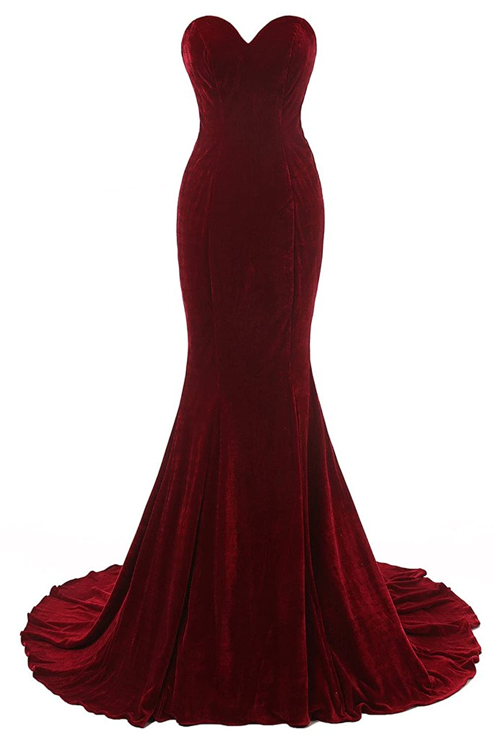 Baijinbai Women's Long Red Mermaid Bridesmaid Party Dresses Evening Gown red