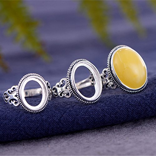 - Ring Blank (10x13mm/12x16mm/13x18mm Oval Blank) Adjustable Thai Sterling Silver Ring Base Antique Style Oval Cabochon Ring Setting R625B (13x18mm)