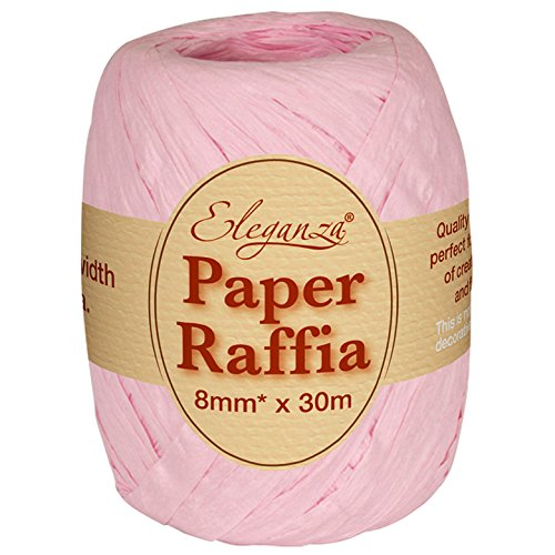 Eleganza 8 mm x 30 m Paper Raffia for Variety of Craft Projects and Gift Wrapping, No.21 Light Pink Oaktree UK 630031