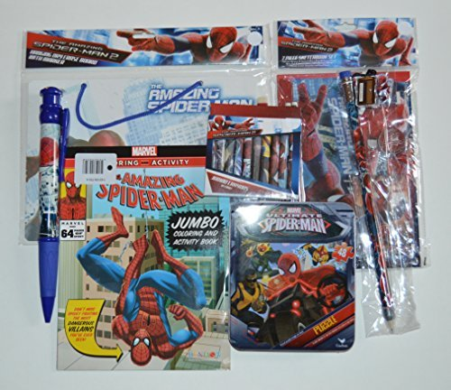 Spiderman Activity Bundle Puzzle in Tin Storage Dry Erase Board Jumbo Coloring Book 7 Piece Sketchbook Jumbo Crayons Pen and Pencil