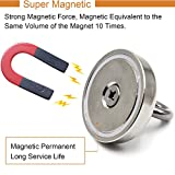 DIYMAG Super Strong Neodymium Fishing Magnets, 360 LBS(163 KG) Pulling Force Rare Earth Magnet with Countersunk Hole Eyebolt Diameter 2.95 INCH(75 mm) for Retrieving in River and Magnetic Fishing