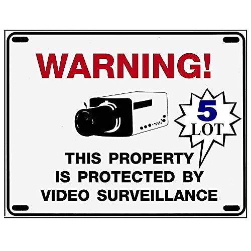 Five (5) Home Security Alarm Camera Warning Yard Signs - 8.5 x 11