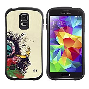 Suave TPU Caso Carcasa de Caucho Funda para Samsung Galaxy S5 SM-G900 / Portrait Oil Profile Colorful Art Painting / STRONG
