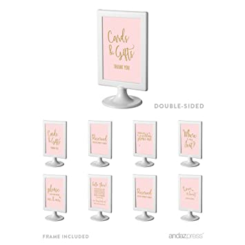 Amazon.com: Andaz Press Wedding and Event Framed Party Signs, Blush ...