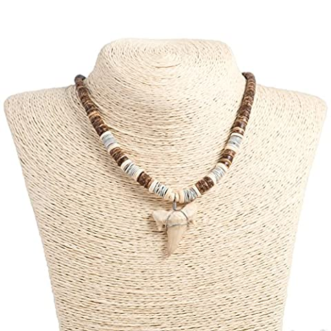Shark Tooth Pendant on Graduated Brown Coconut Wood Beads Necklace with Oyster Shells (3S Shark - Coconut Shell Pendant