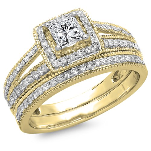 14ky Gold Engagement Ring (1.00 Carat (ctw) 14K Yellow Gold Princess & Round Diamond Halo Engagement Ring Set 1 CT (Size 5.5))