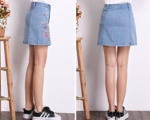 Vita Minigonna Sentao Jeans Donne Gonna Bottoni 3 Di Ricamo Alta Blu Leggero Con Tx0xZw5r