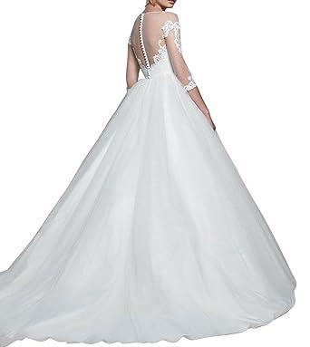 Ethel Women\'s Sheer Applique Top Ball Gowns Long Sleeves Wedding ...