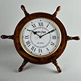 Handcrafted Wooden Ship Wheel Wall Clock by STAR INDIA CRAFT - Wall Decor Natural Nautical Sailor Wheel, Premium Wall Decorative Ship Wheel with Roman Dial (18'' Inches with 10'' Inches Dial)