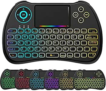 EASYTONE H9 2.4GHz Colorful Backlit Mini Wireless Remote Keyboard Mouse with Touchpad USB Rechargeable Combos for Android Kodi TV Box,HTPC,IPTV,PC,PS3,Xbox 360,Raspberry Pi,NVIDIA Shield TV [Updated]