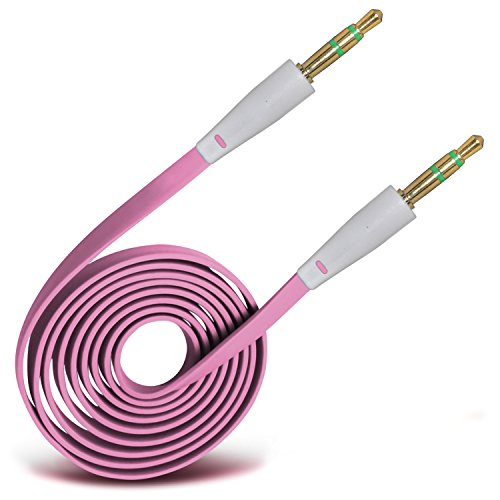 ONX3® (Baby Pink) High Quality 3.5mm Male To Male Jack Flat Cable AUX Auxiliary Audio Cable Lead For HTC EVO Shift 4G