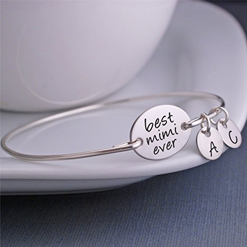 Best Mimi Ever Personalized Bangle Bracelet, Christmas Gift for Mimi (Contemporary Steel Bangle)