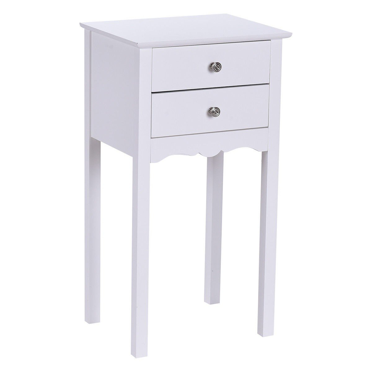 Side Table End Accent Table w/ 2 Drawers - By Choice Products (White)