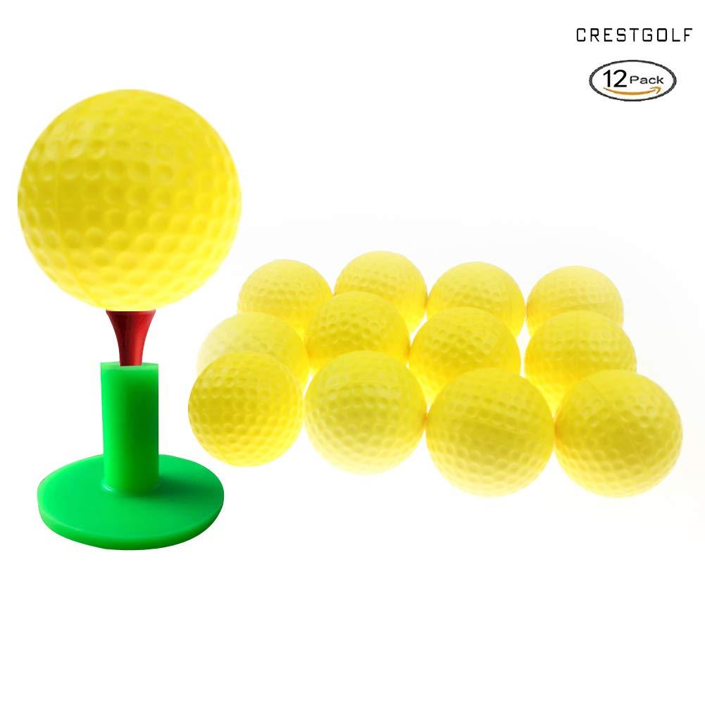 Crestgolf Foam Sponge Practice Ball 12 pcs per bag (yellow) by Crestgolf