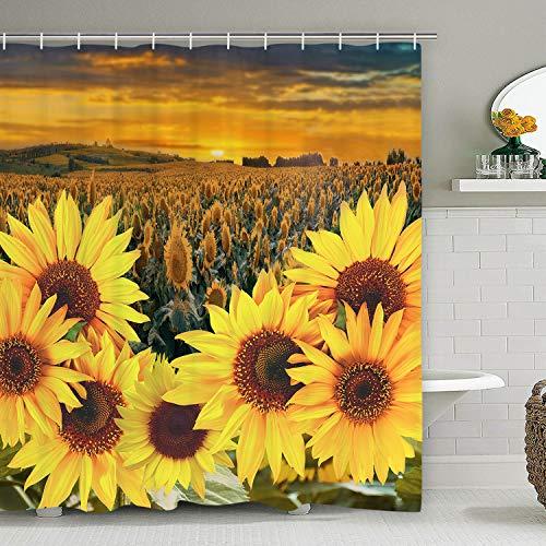 (Sunflower Shower Curtain with 12 Hooks, Yellow Floral Shower Curtain, Durable Waterproof Shower Curtain Plant Bath Curtain for Bathroom )