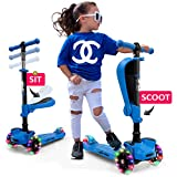 Hurtle 3 Wheeled Scooter for Kids - 2-in-1 Sit/Stand Child Toddlers Toy Kick Scooters w/Flip-Out Seat, Adjustable Height, Wide Deck, Flashing Wheel Lights, Great for Outdoor Fun HURFS56 (Blue)