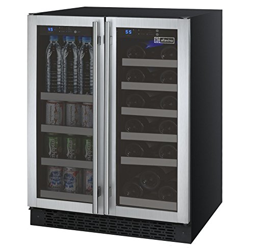 Door Beverage Center Solid (Allavino FlexCount VSWB-2SSFN French Door Wine Refrigerator/Beverage Center - Stainless Steel Doors)