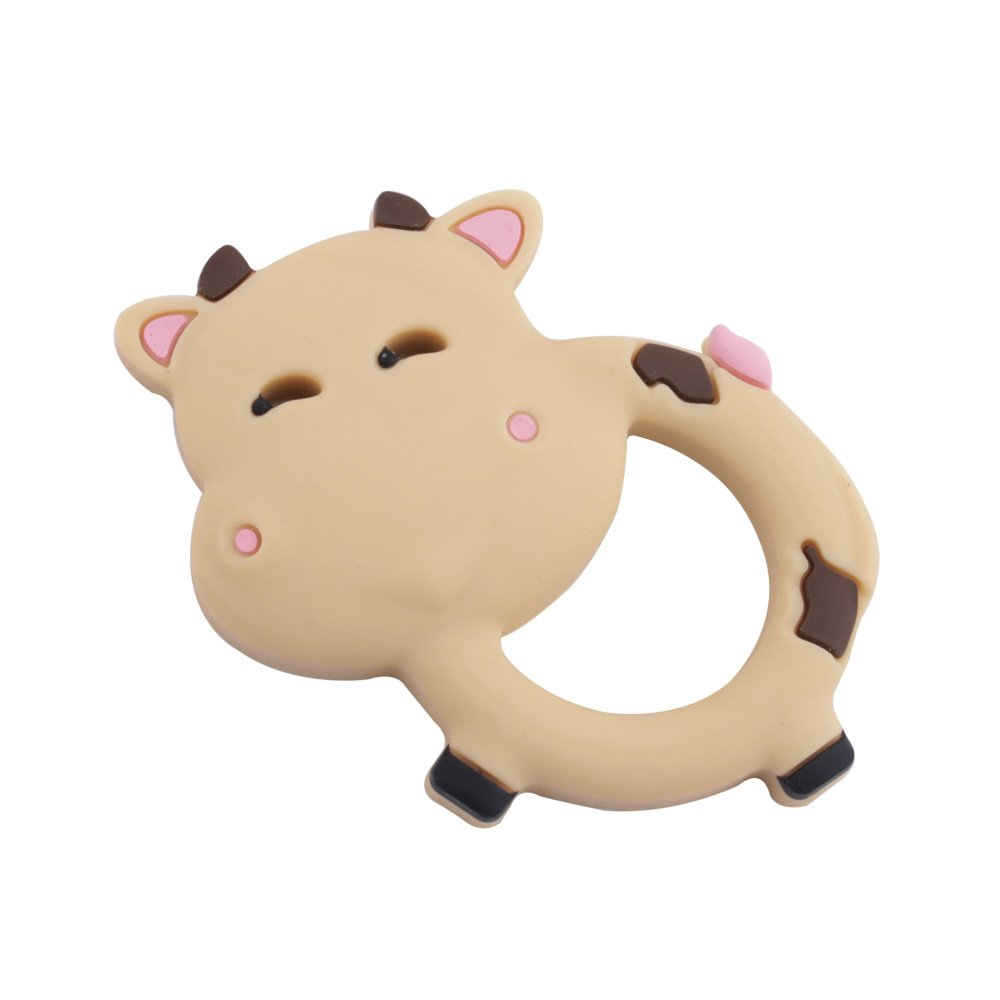 Baby Silicone Teether Infant Teething Toys Pendant BPA Free Can Chew Cow Textures Sensory Point Teething Accessories -Brown