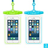 Waterproof Case, Firstbuy 2 Pack Waterproof Pouch Dry Bag Outdoor Activities Sport Case With Armband Neck Strap Luminous Ornament Perfect For Swimming Protect Iphone 7 7Plus 6s 6splus Etc.