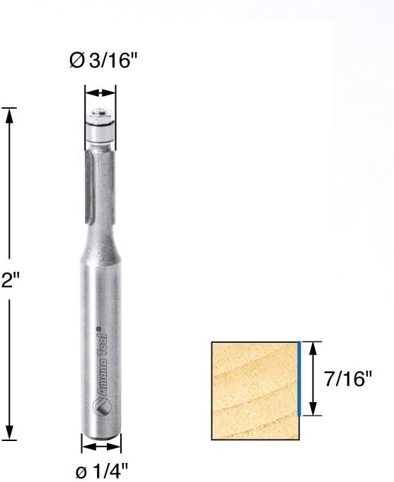 Amana Tool MR0102 Carbide Tipped Miniature Flush Trim 3//16 Dia x 7//16 x 1//4 Shank w