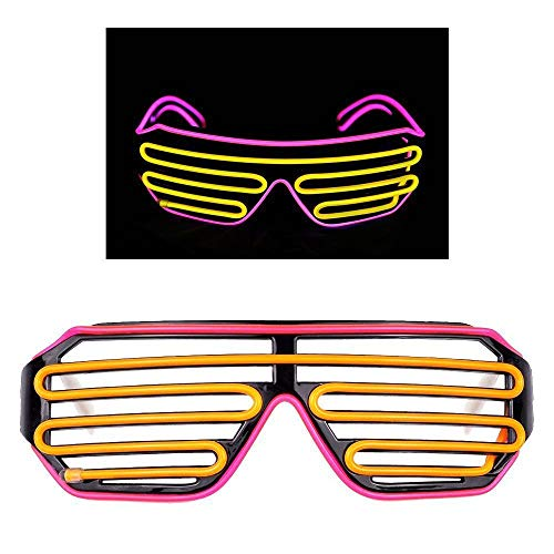 UVZZ El Wire Glasses Led Fashion DJ Bright Safety Light Up Shutter Shaped Glow Sun Glasses Multicolor led Flashing Glasses with 4 Modes for Halloween Christmas Birthday Party (Pink Frame+Yellow)