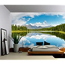 Picture Sensations Canvas Texture Wall Mural, Landscape Nature Forest Mountain Lake, Self-adhesive Vinyl Wallpaper, Peel & Stick Fabric Wall Decal - 48x36