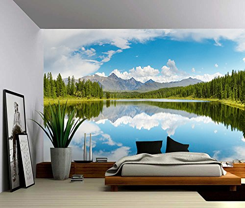 Picture Sensations Canvas Texture Wall Mural, Landscape Nature Forest  Mountain Lake, Self Adhesive Vinyl Wallpaper, Peel U0026 Stick Fabric Wall  Decal   96x66 Part 82