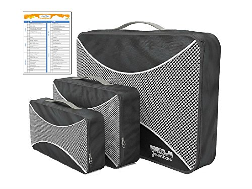 Packing Cubes BONUS Travel Check List 3 piece set for travel (Piece Packing Large 3 Cubes)