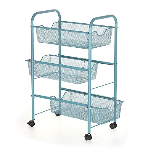 NEX Rolling Cart Organizer with Drawers Mesh Utility Cart for Home Kitchen Bathroom Laundry Storage 3 Tier ()