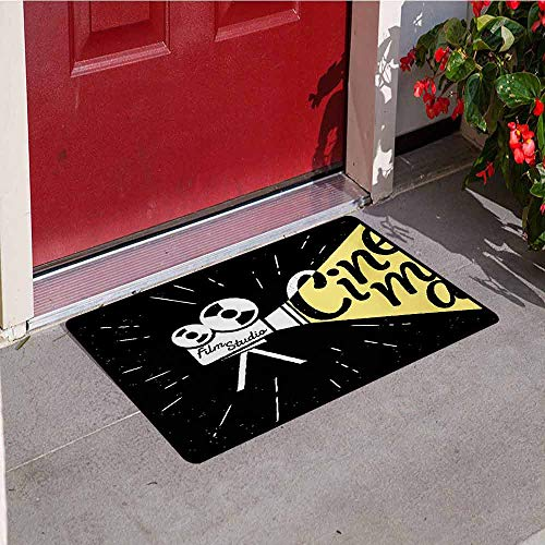 Jinguizi Movie Theater Commercial Grade Entrance mat Movie Projector Sketch with Grunge Cinema Lettering on Black Backdrop for entrances garages patios W15.7 x L23.6 Inch Yellow Black White