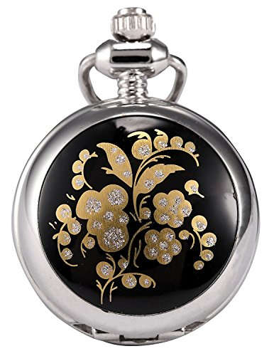 Carrie Hughes Women's Fashion Small Flower design Steampunk Stainless Steel Pendant Necklace Pocket Watch