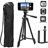 Heoysn Lightweight Aluminum Tripod 50 Inch, Camera Tripod with Carry Bag and Universal Phone Mount