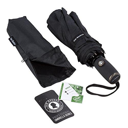 Regenschirm Taschenschirm | VAN BEEKEN - windsicher bis 140 km/h, wasserabweisende Teflon-Beschichtung, klein, leicht & kompakt - stabiler Schirm mit voll-automatischer Auf-Zu-Automatik, schwarz 95 cm