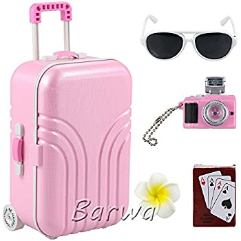 Amazon.com: Barwa Travel Set Suitcase Pink Suitcase and Camera ...