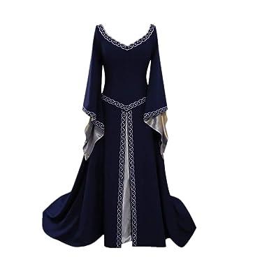 Culater Vestido Vestido De Manga Larga con Cuello En V Vestido Medieval Vestido Largo Cosplay: Amazon.es: Ropa y accesorios