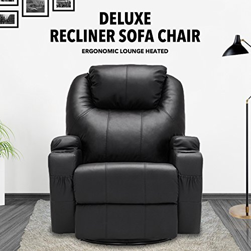 Amazon.com: SUNCOO Massage Recliner Leather Sofa Chair Ergonomic Lounge  Heated With Cup Holder 360 Degree Swivel (Black 11 IN 1): Kitchen U0026 Dining