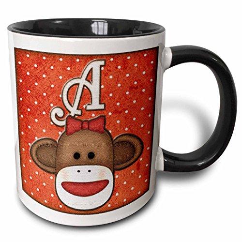 3dRose 102804_4 Cute Sock Monkey Girl Initial Letter A Two tone black mug, 11 oz, White