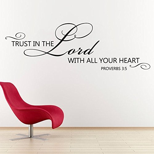 Leemall Scripture Wall Decal Trust in the Lord with all your heart Bible Verse Wall Decal Quote