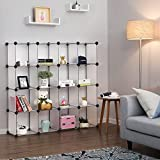 SONGMICS Storage Cubes,DIY Modular Shoe Rack, Plastic Cube Organizer Unit for closet, Bookcase, Included Anti-Toppling Fittings and Rubber Hammer White Translucent 16-Cube ULPC44L