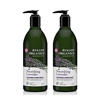 Avalon Organics Glycerin Hand Soap Lavender With Lavender Essential Oil, Calendula, Aloe and Vitamin E, 12 fl oz (355 ml) (Pack of 2)