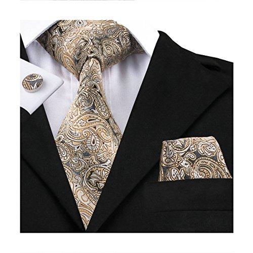 Hi-Tie Men Champagne Gold Black Paisley and Floral Tie Handkerchief Necktie with Cufflinks and Pocket Square Tie Set